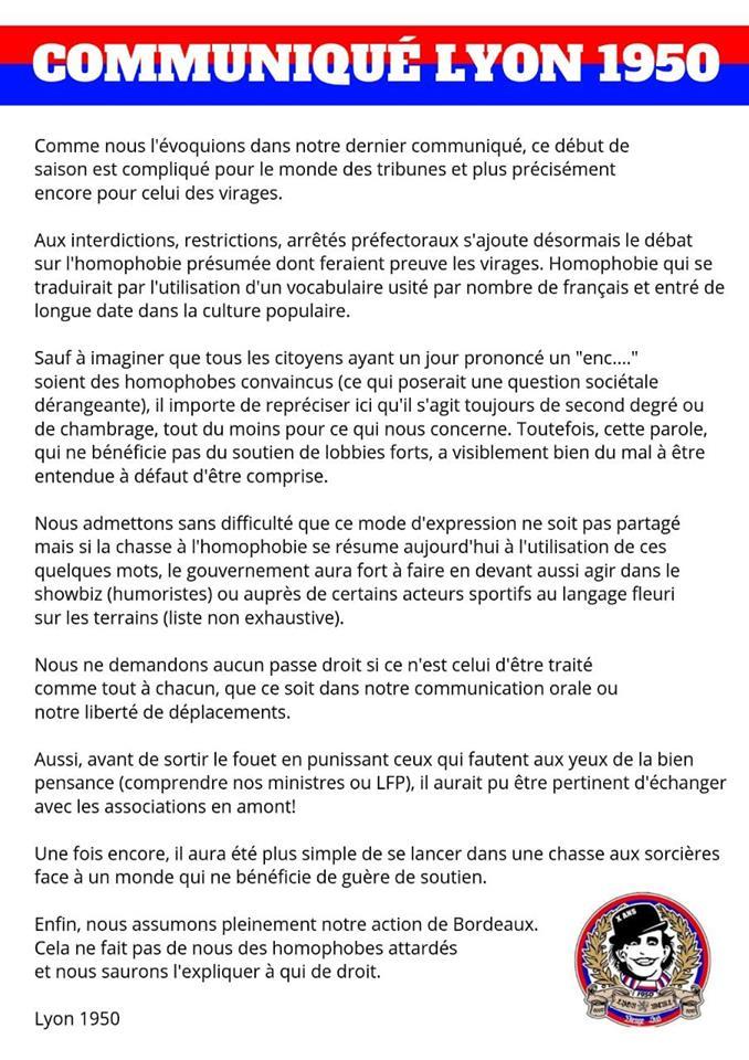Communiqué Lyon 1950