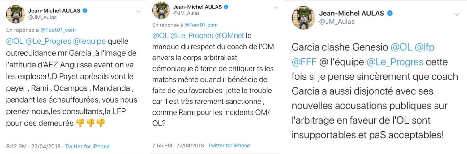 Quelques exemples de tweets assassins de JMA envers Rudi Garcia
